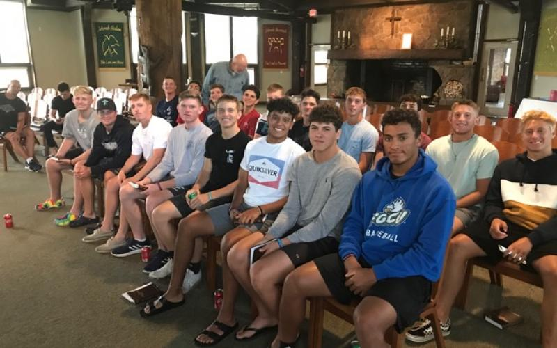 Florida high school baseball players and Fellowship of Christian Athletes members visit Sky Valley's Community Bible Church last week. (Submitted Photo)