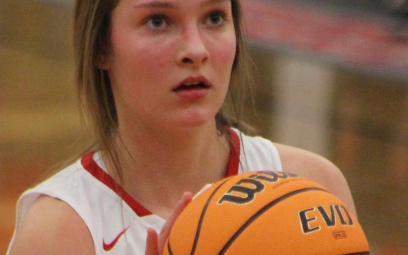 (Andy Diffenderfer/The Clayton Tribune) Carley Haban scored 14 of her game-high 22 points in the first half last Friday, leading Rabun County over Union County in a key Region 8-AA duel.