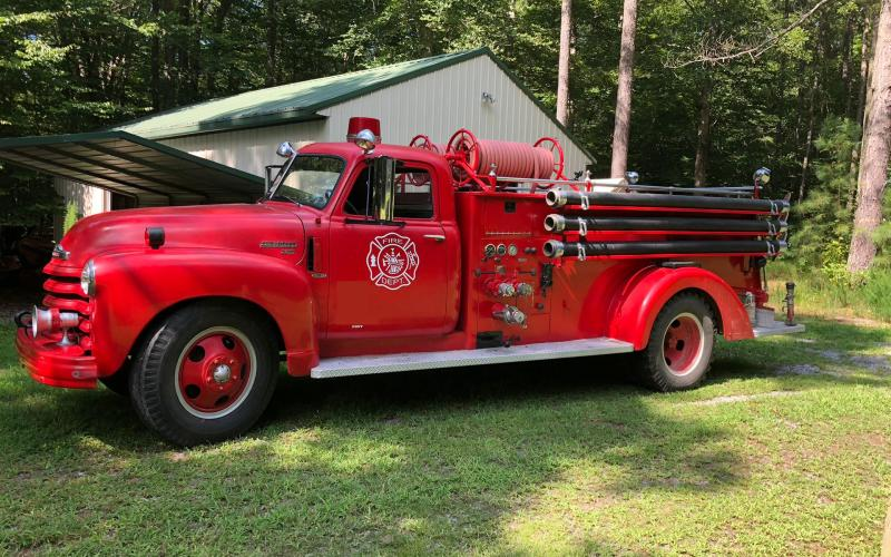Submitted photo. The Lake Burton Civic Association purchased this 1949 fire engine pumper truck as part of a restoration project to recruit volunteer firefighters and to commemorate the contribution volunteer firefighters make to the Rabun County community.