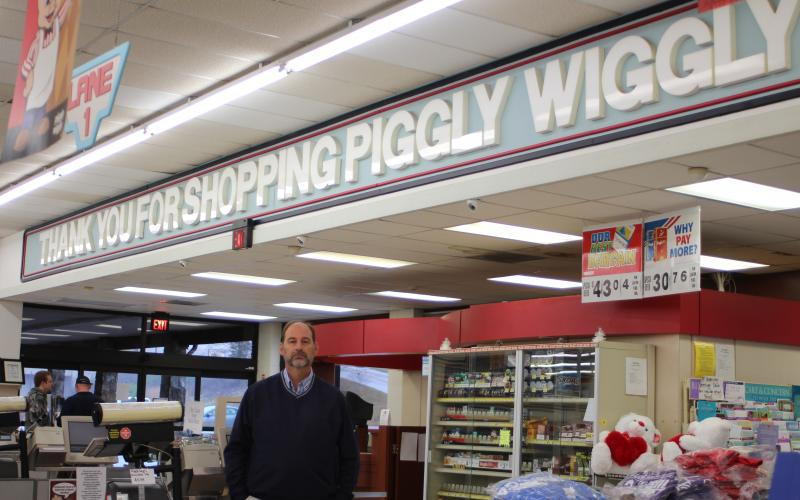 "Megan Broome/The Clayton Tribune. Jeff Harris is the new owner of the Piggly Wiggly in Dillard along with his wife Lisa. As of January 6, 2020 they are the new owners and plan for the store to have a ""local, hometown grocery store feeling."""
