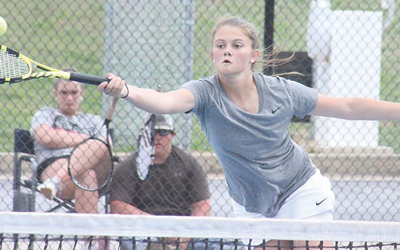 File photo Jenica Steill (pictured from last season) won, 8-3 at No. 1 singles last Thursday.