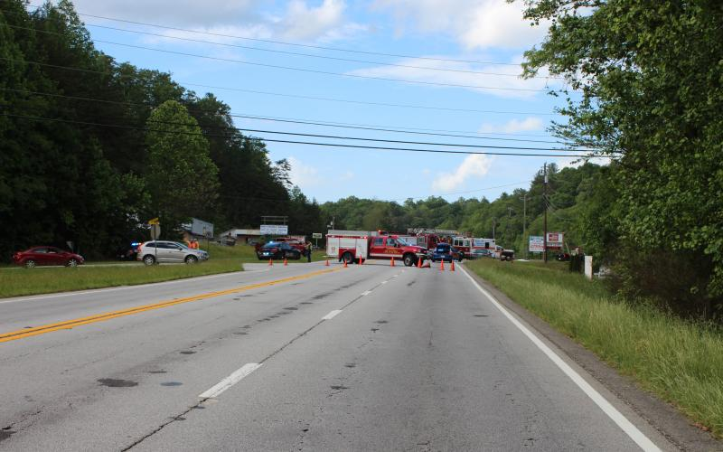 Megan Broome/The Clayton Tribune. An accident on Highway 441 near Clayton Saturday resulted in a road closure and traffic delays for several hours.