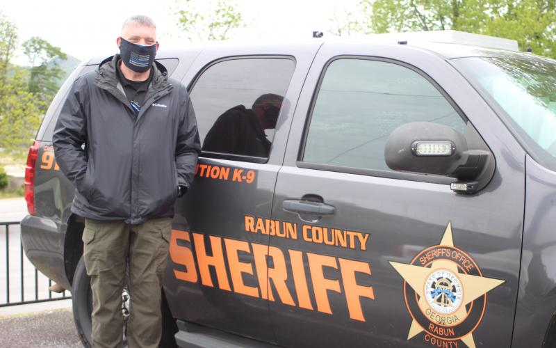 Megan Broome/The Clayton Tribune.Sheriff Chad Nichols wears a protective face mask provided by SHIELD616, an organization that provides protection for peace officers and first responders. They were purchased with fundraising money left over after 33 deputies were outfitted in rifle-rated protective equipment last August.