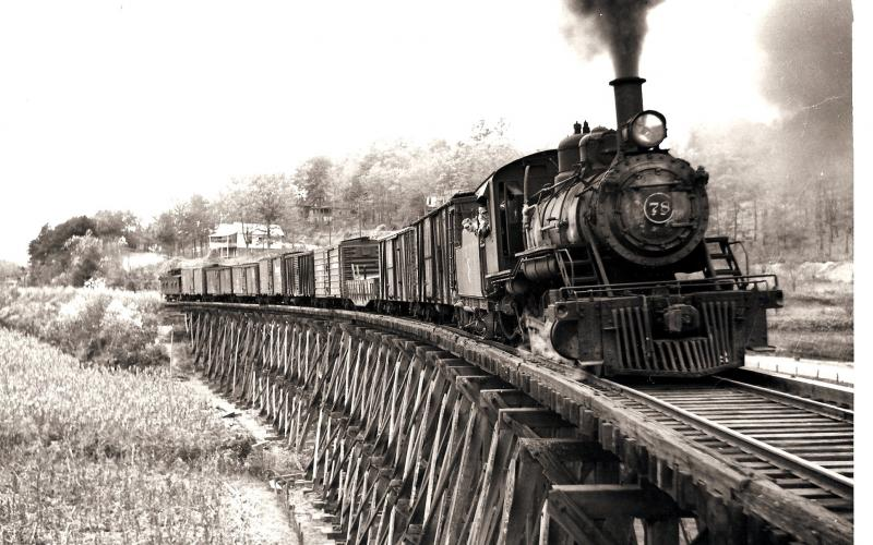 A Tallulah Falls Railroad freight train crossing one of 42 wooden trestles on the line's 58-mile route from Cornelia, Ga. to Franklin, N.C. in 1940.