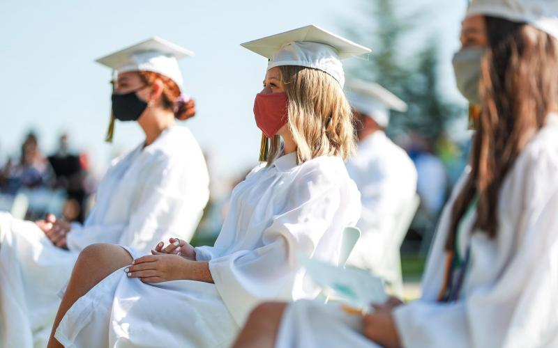 Natalin Darnell '20 of Clayton, GA listens to the speakers at Rabun Gap-Nacoochee School's 117th Commencement Ceremony Aug. 9.