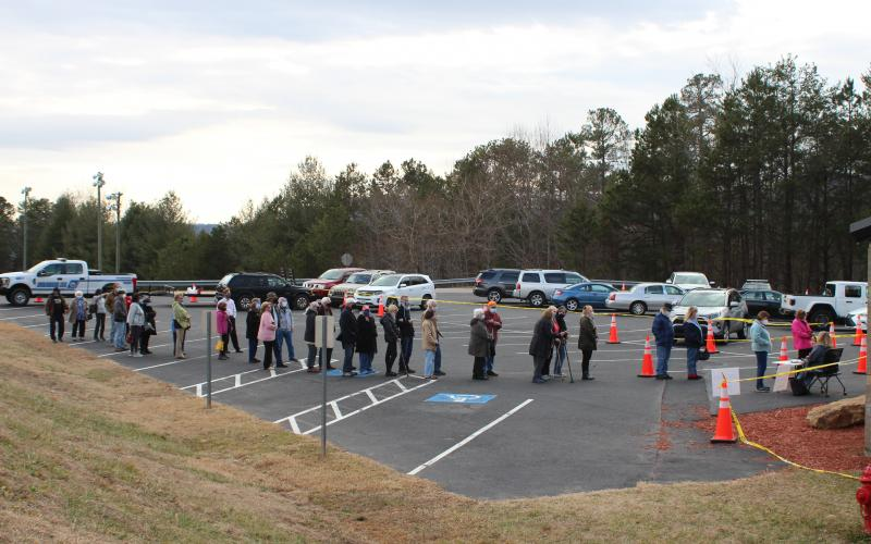 Megan Broome/The Clayton Tribune. Patients stand in line to check-in for their appointment to receive their COVID-19 vaccination on Tuesday. Over 700 vaccinations were given at the clinic held at the Rabun County Recreation Department.