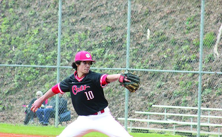 Rabun County's Kasin Old prepares to pitch during a game in Tiger last season. (File Photo)