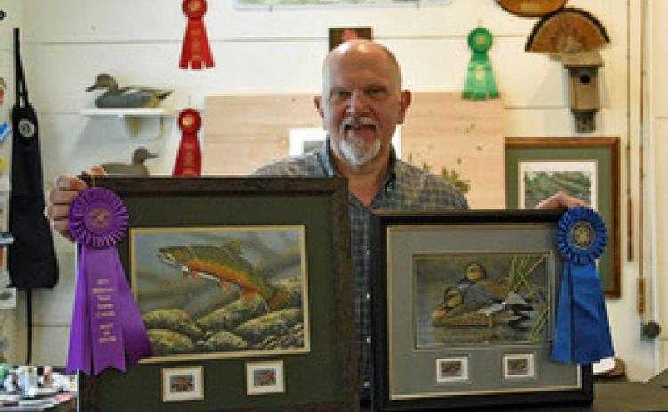 Broderick Crawford's paintings have been chosen for trout stamps in Iowa and Delaware this year.