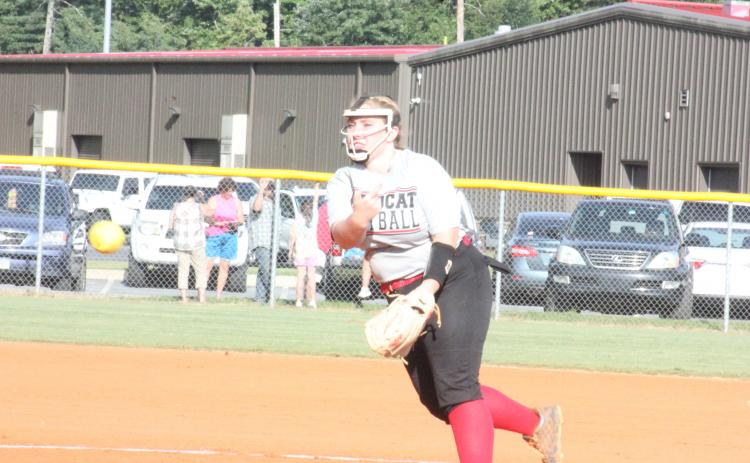Rabun County's Alyssa Fair pitches against Dawson at Rabun County High School in Tiger last Thursday. (Glendon Poe/The Clayton Tribune)