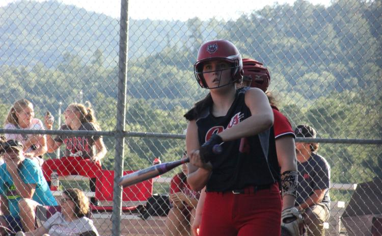 Rabun County's Mary Lovell gets instructions from coach Angela Shepheard during an at-bat against Social Circle at Rabun County High School in Tiger last Thursday. (Glendon Poe/The Clayton Tribune)