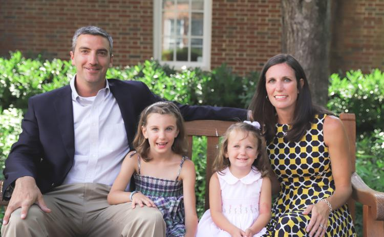 Jeff Miles is the 11th Head of School for Rabun Gap-Nacoochee School and looks forward to being part of the Rabun County community. Jeff Miles, left, poses with daughters Lia,6, Alison,2, and wife Kiana at Rabun Gap-Nacoochee School.