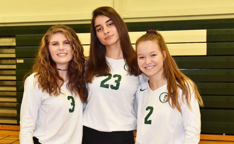 Shown, from left, are senior players Lillie Free of Clarkesville, Vjera Radovic of Montenegro and Kate Blackburn of Demorest. (Photo courtesy of Tallulah Falls School)