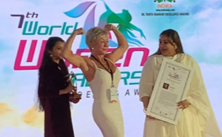 Fitness trainer Iris Davis was spotlighted at the annual World Women Leadership Congress and Awards in February in Mumbai, India.