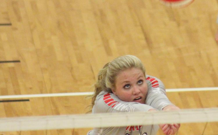 File photo. Beth Payne (pictured from last season) is one of four seniors for the Rabun County High volleyball team. Meredith Coleman is the new head coach.