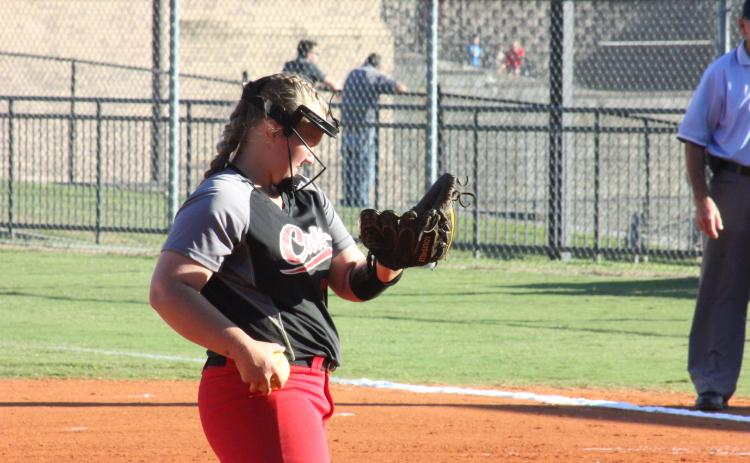 File photo. One of 10 juniors, Courtney Stewart (pictured from last season) can pitch and play first base.